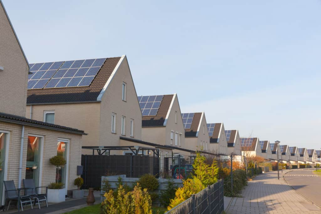 New family homes with solar panels on the roof