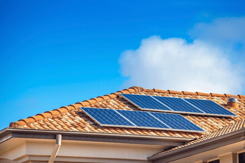 solar panels on an s tile roof