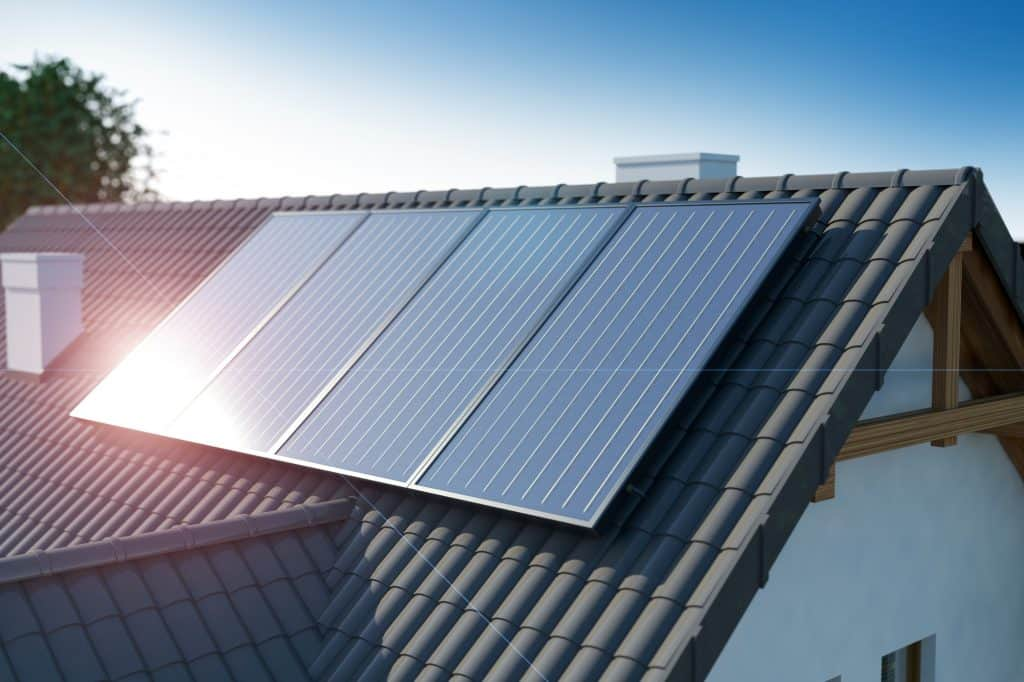 solar panels on a black tile roof